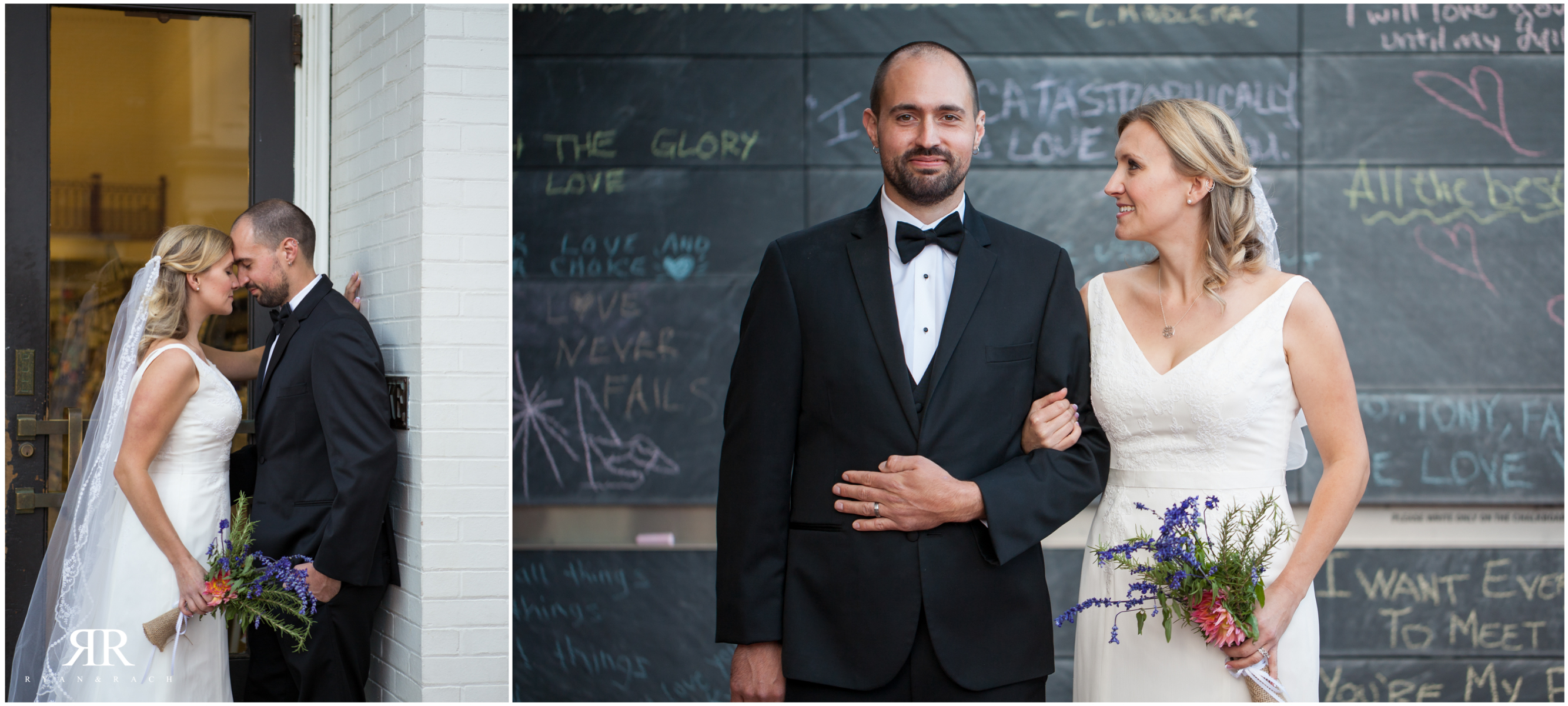 Downtown Chalk Wall Wedding Charlottesville, VA